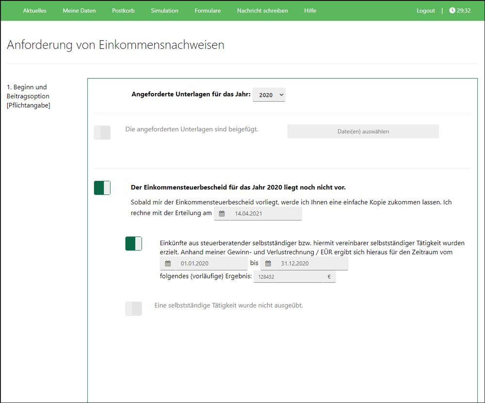Screenshot Mitgliederportal Intelligente Formulare