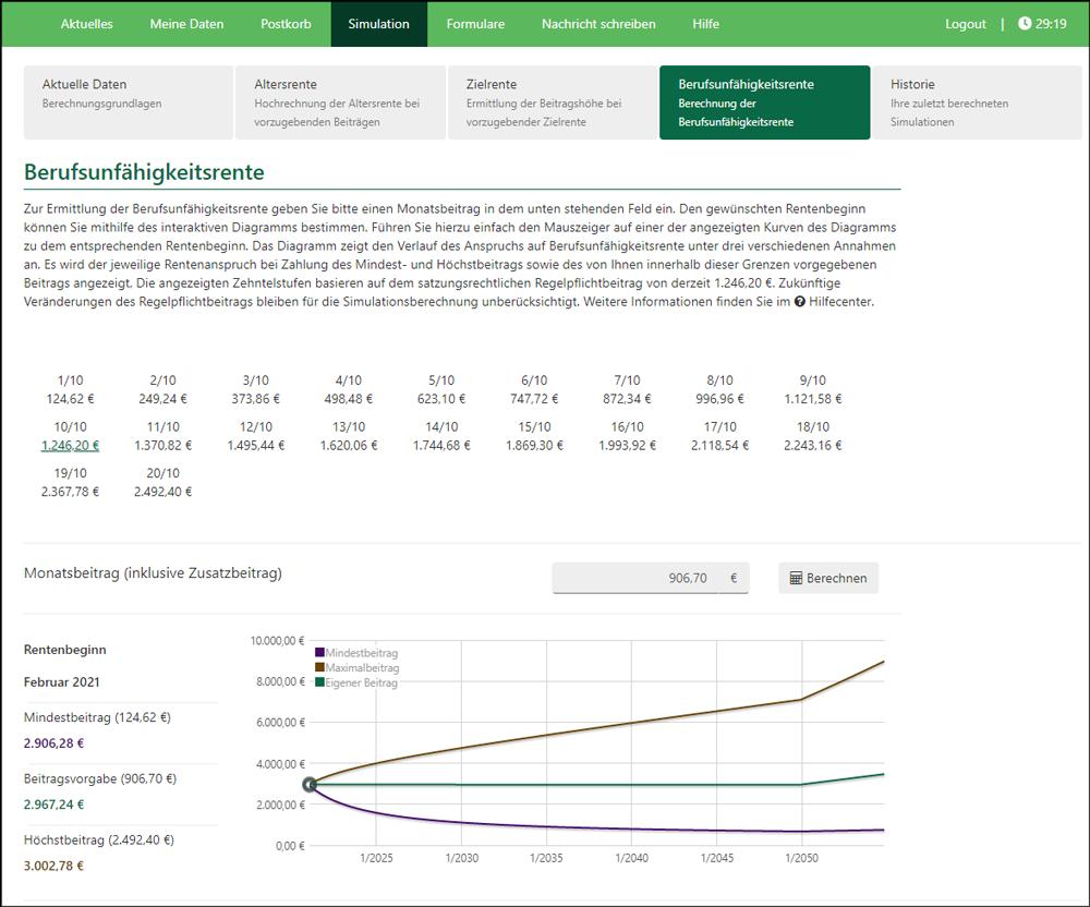 Screenshot Mitgliederportal Rentensimulation