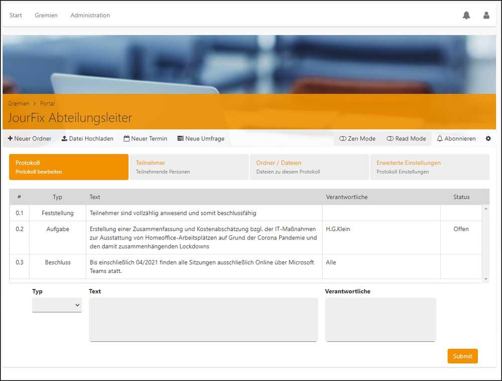 Screenshot Gremienportal: Protokollfunktion