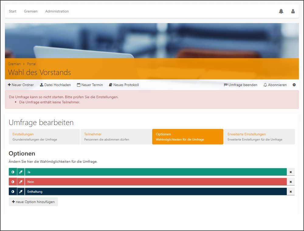 Screenshot Gremienportal: Umfragen konfigurieren